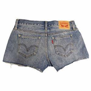 Levi's Classic Blue Jean Denim Distressed Shorts
